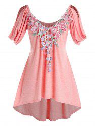 Plus Size Cowl Sleeve Floral Applique High Low T Shirt -