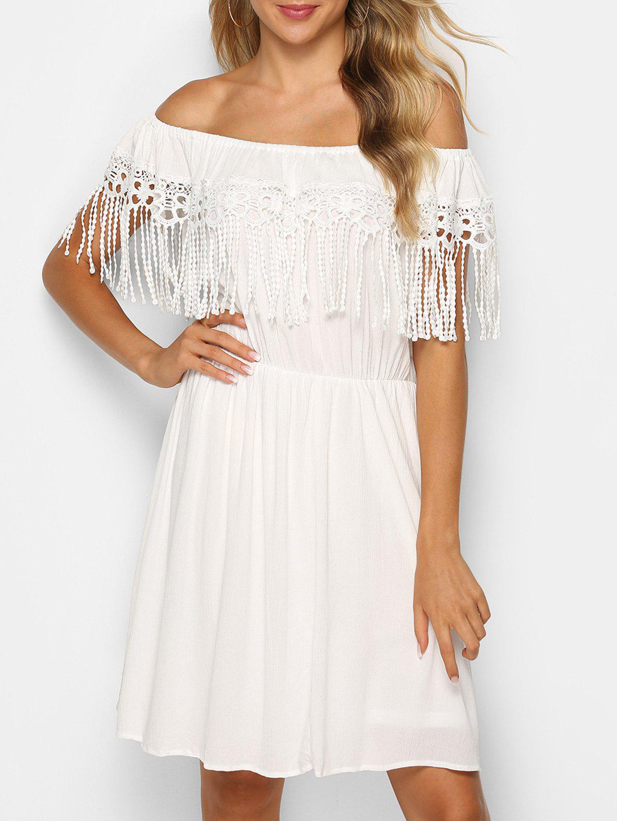 Cheap Fringed Lace Insert Off The Shoulder Dress