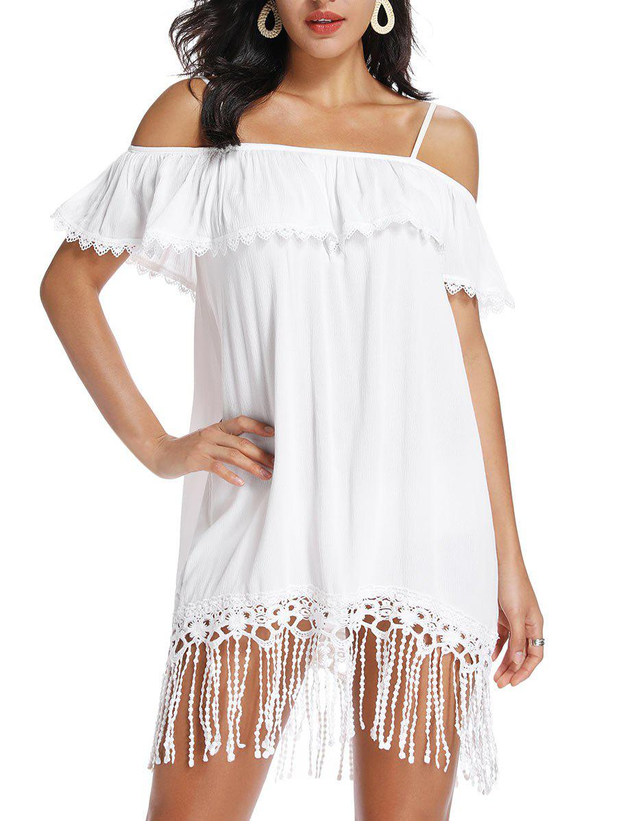 Online Open Shoulder Fringed Lace Trim Flounce Dress