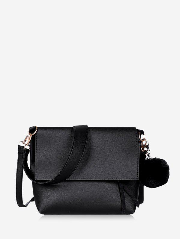Shop Pom Pom Flap Leather Crossbody Bag