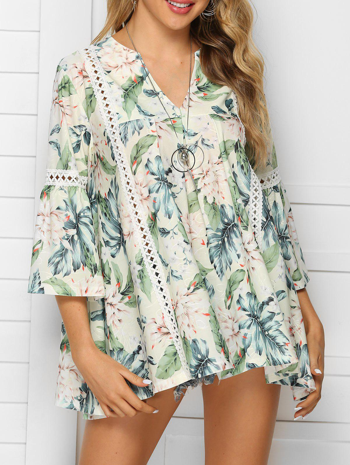 New Flower Print Asymmetric Lace Panel Blouse