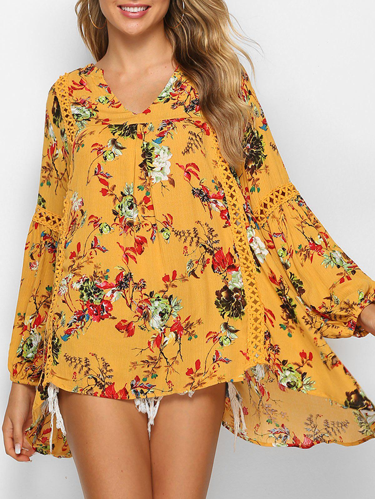Outfits Flower Print Asymmetric Lace Panel Blouse