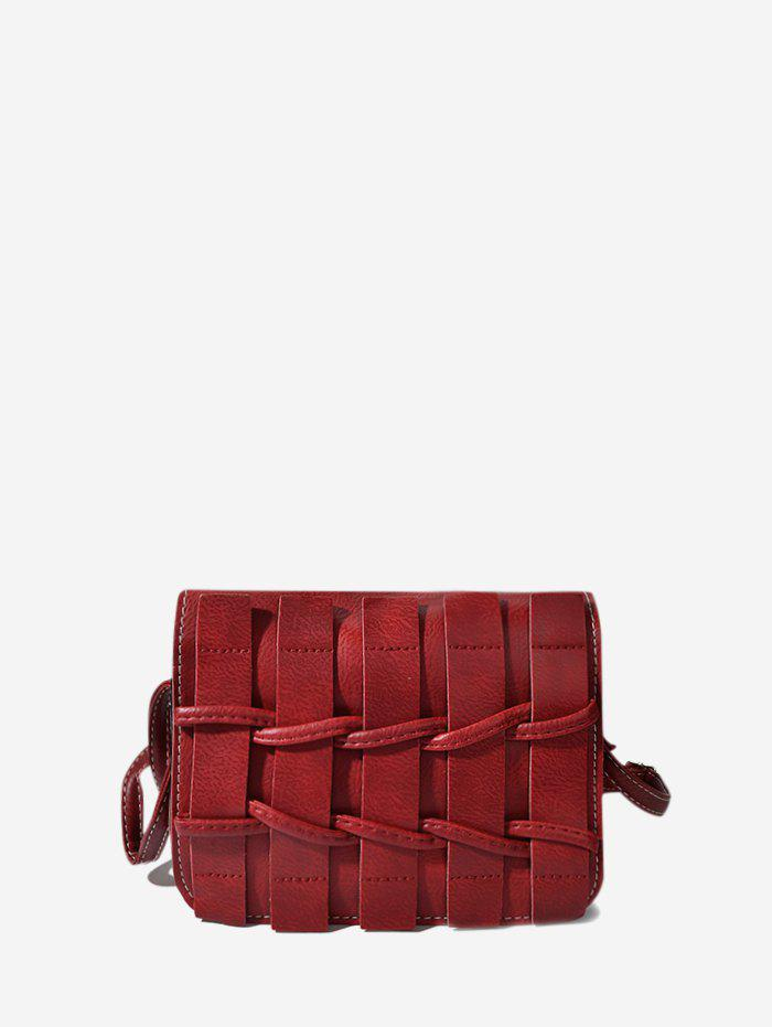 Outfits Plain Woven Leather Mini Crossbody Bag