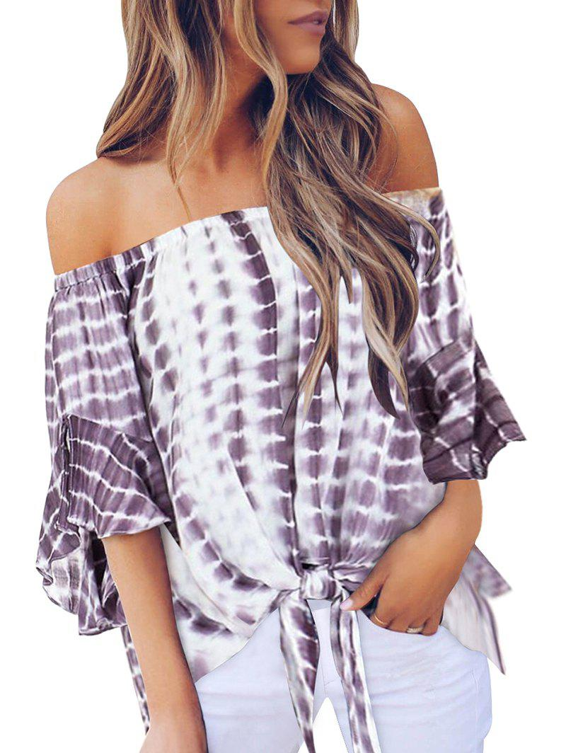 Hot Off Shoulder Knotted Tie Dye Blouse