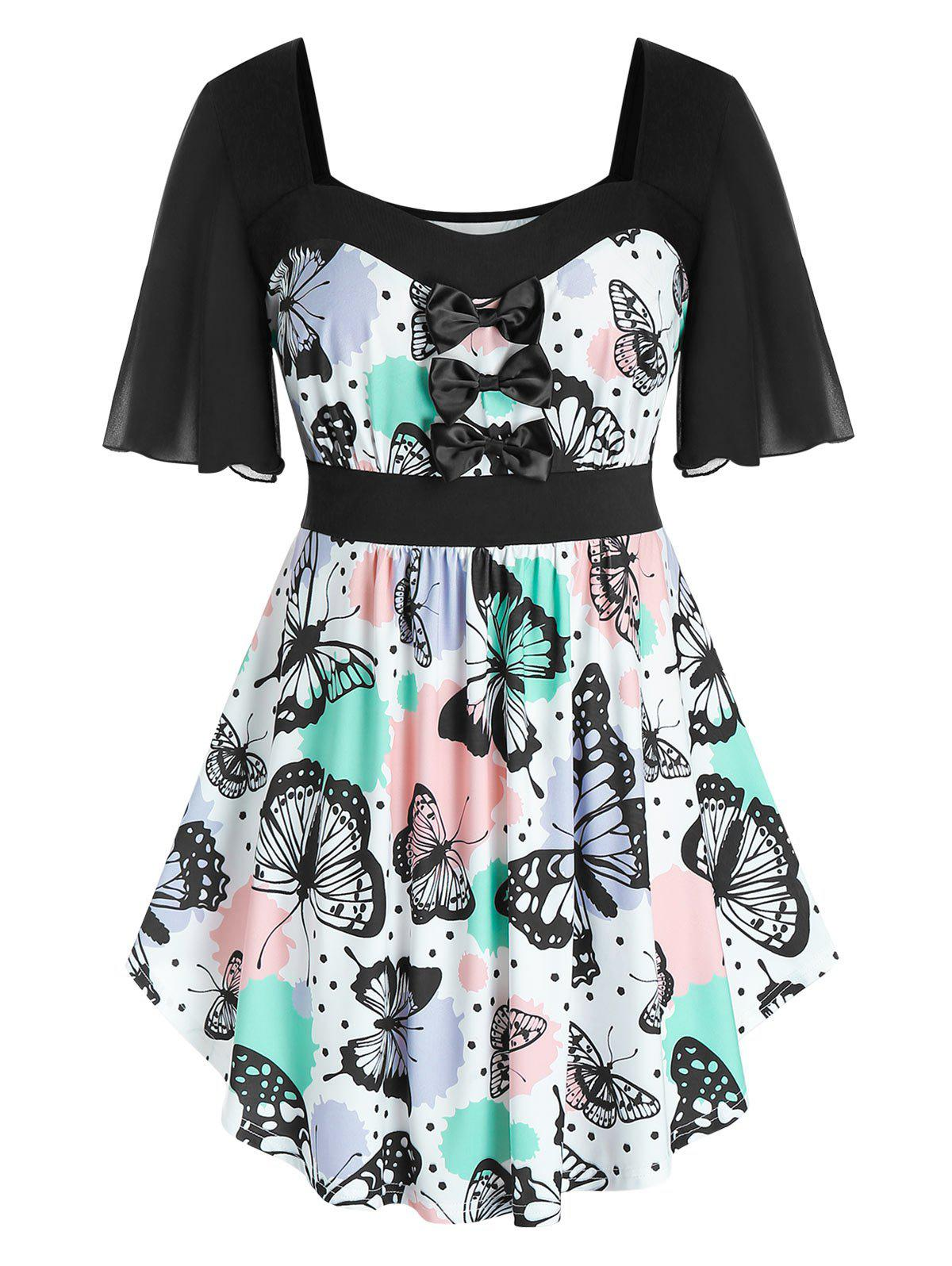 Store Plus Size Bowknot Butterfly Print T Shirt