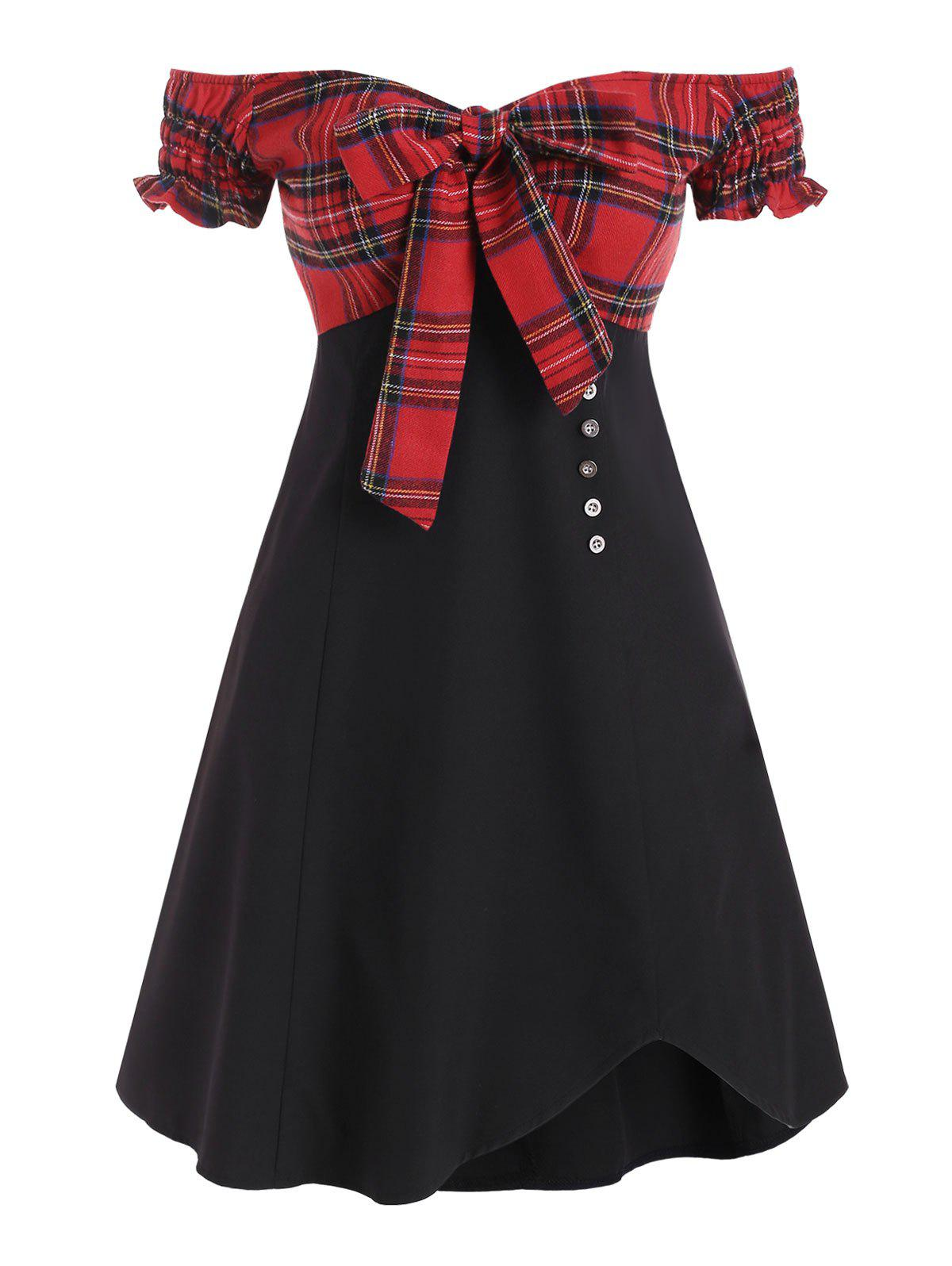 Outfits Plaid Panel Off Shoulder Tie Front Mini Dress