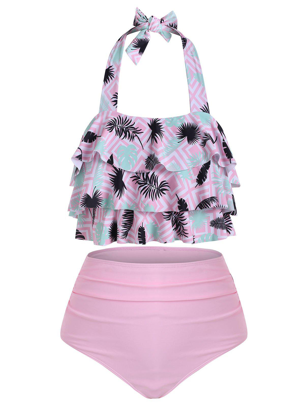 Tiered Flounces Tiger Leaves Print High Waisted Tankini Swimsuit, Pink