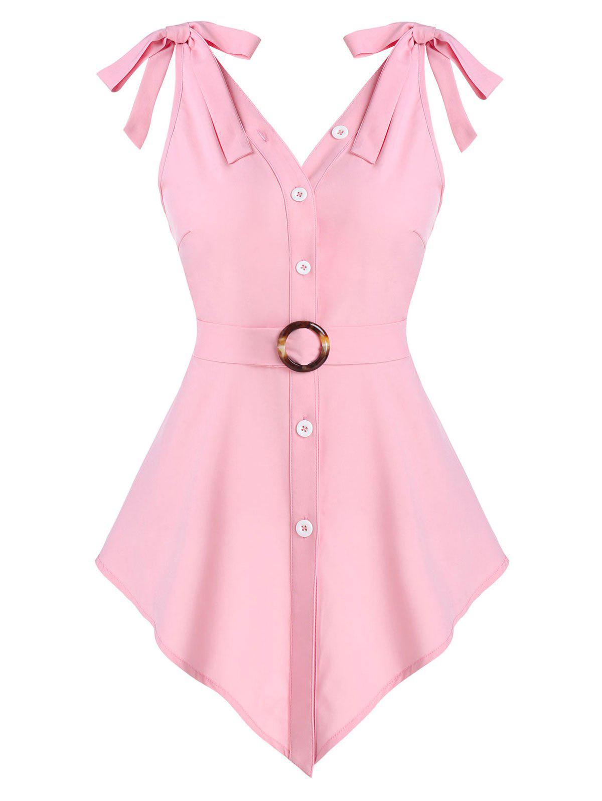 Discount Pointed Hem Button Up O-ring Belted Tank Top