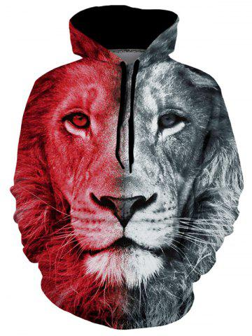 Lion Graphic Pouch Pocket Casual Hoodie