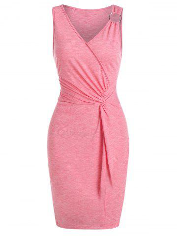 Twist Front O-ring Heathered Bodycon Dress
