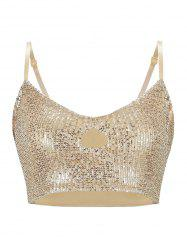 Keyhole Sequined Crop Cami Top -
