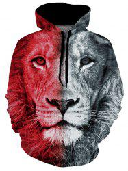 Lion Graphic Pouch Pocket Casual Hoodie -