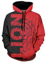 Contrast Lion Graphic Front Pocket Casual Hoodie -