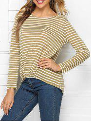 Ruched Stripes High Low Tee -