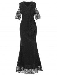 V Neck Lace Cold Shoulder Maxi Evening Dress -