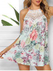 Floral Tie Crochet Panel Tank Top -