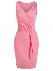 Twist Front O-ring Heathered Bodycon Dress -
