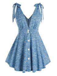 Plus Size Bowknot Button Plunging Neck Tank Top -