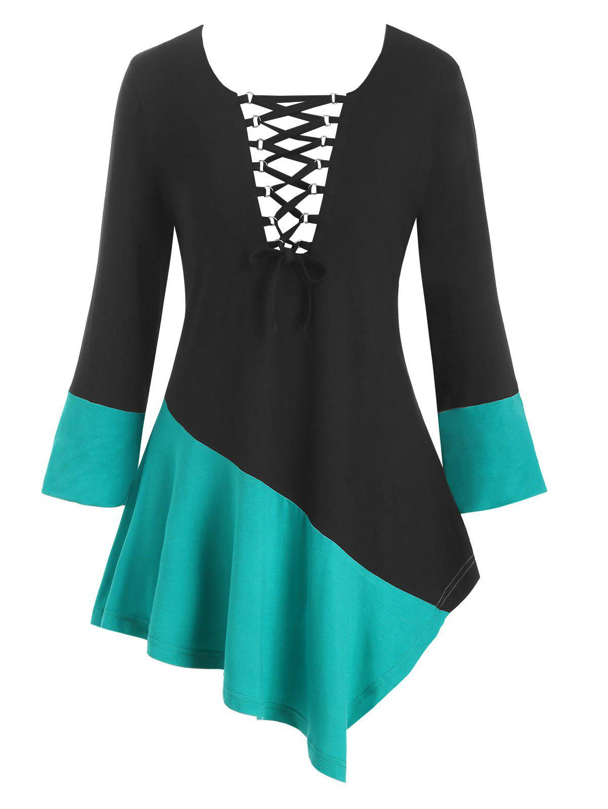 Two Tone Lace Up Asymmetrical Plus Size Top, Medium turquoise