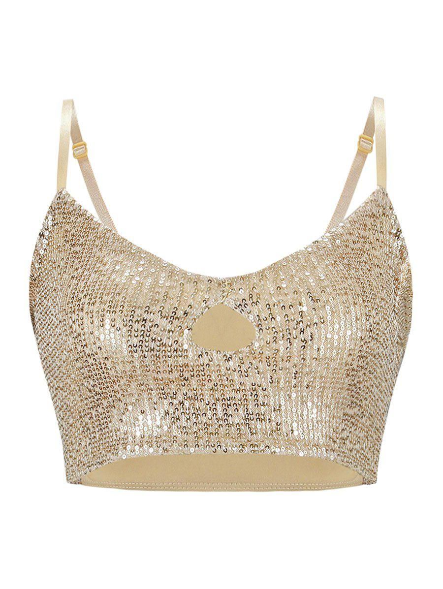 New Keyhole Sequined Crop Cami Top