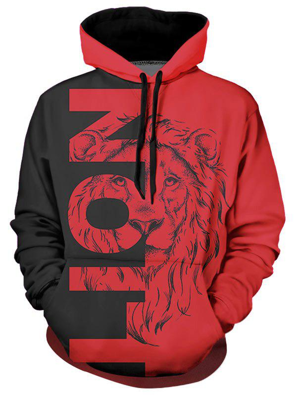 Discount Contrast Lion Graphic Front Pocket Casual Hoodie
