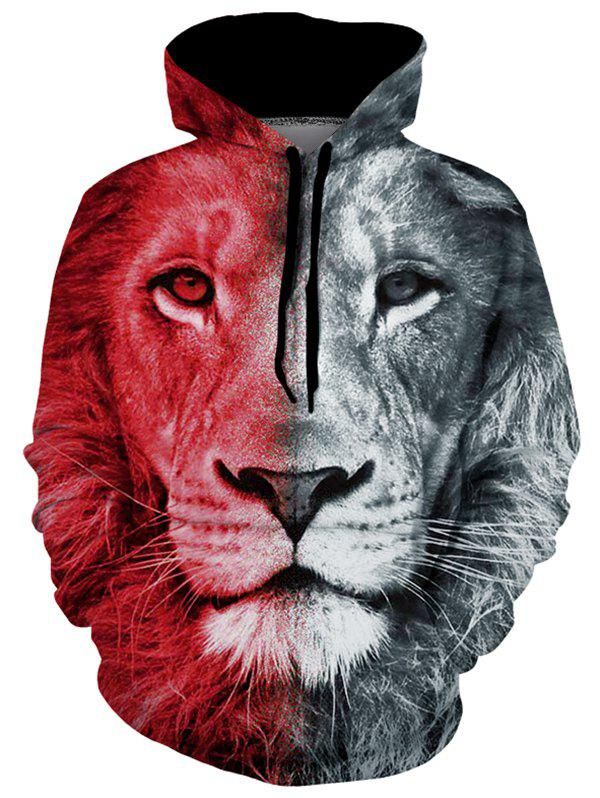 Lion Graphic Pouch Pocket Casual Hoodie фото