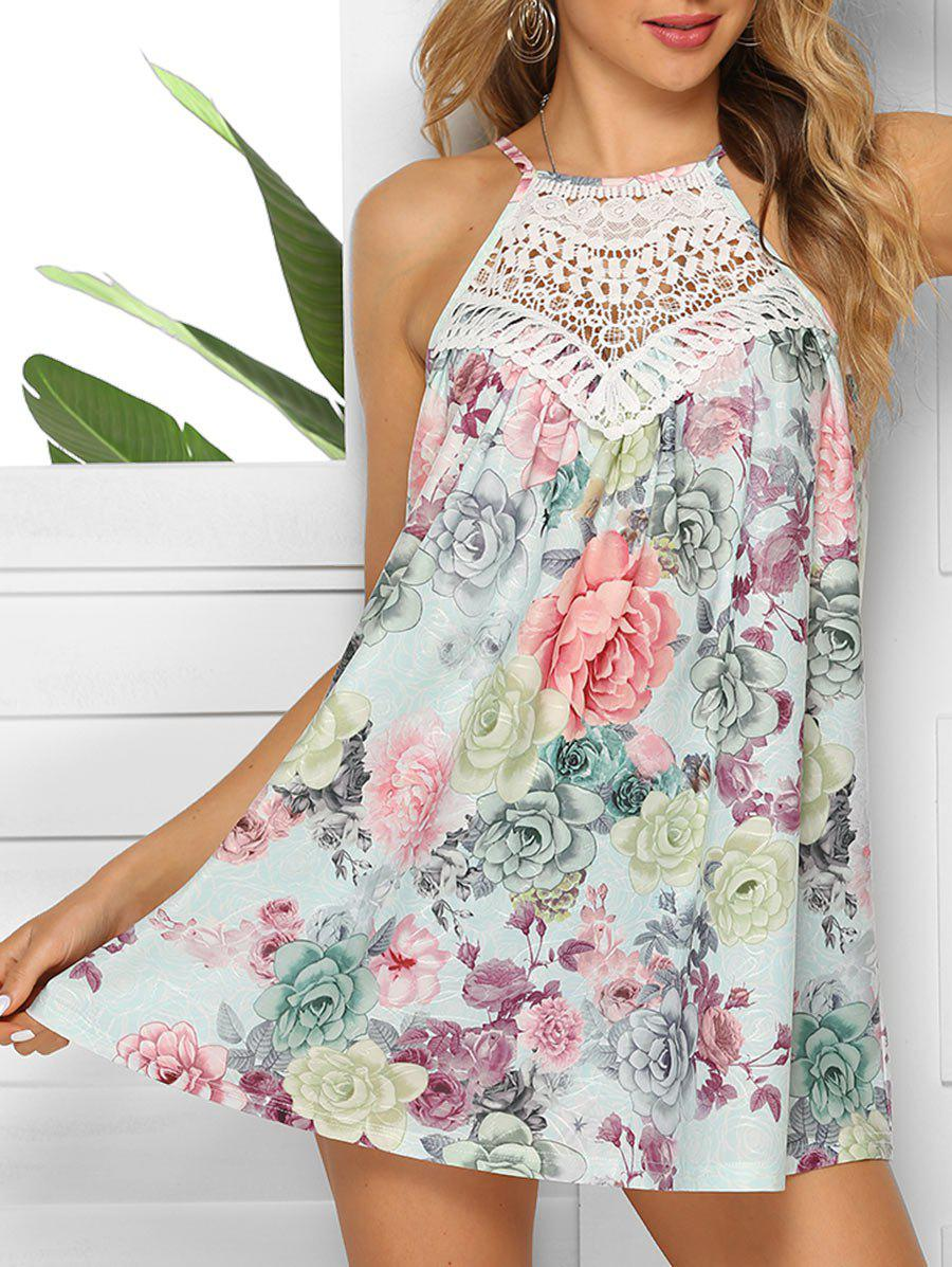 Discount Floral Tie Crochet Panel Tank Top