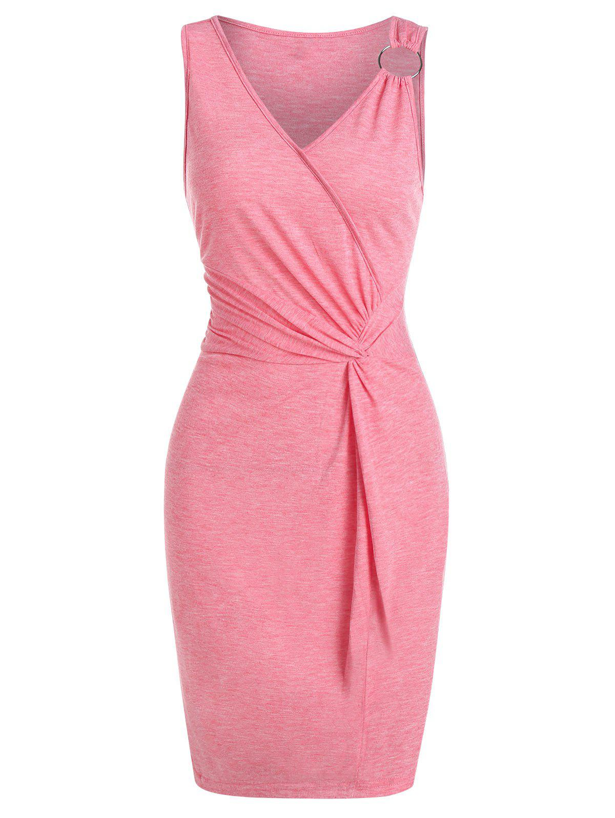 Discount Twist Front O-ring Heathered Bodycon Dress