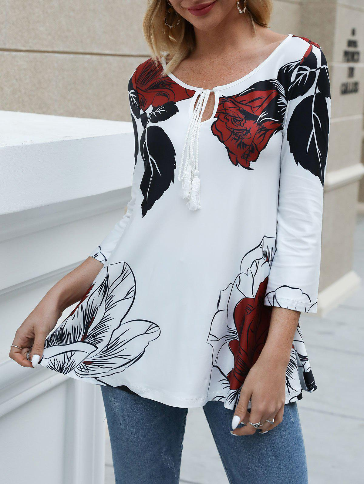 Flower Leaves Print Keyhole Neck Tasseled T-shirt DRESSFO