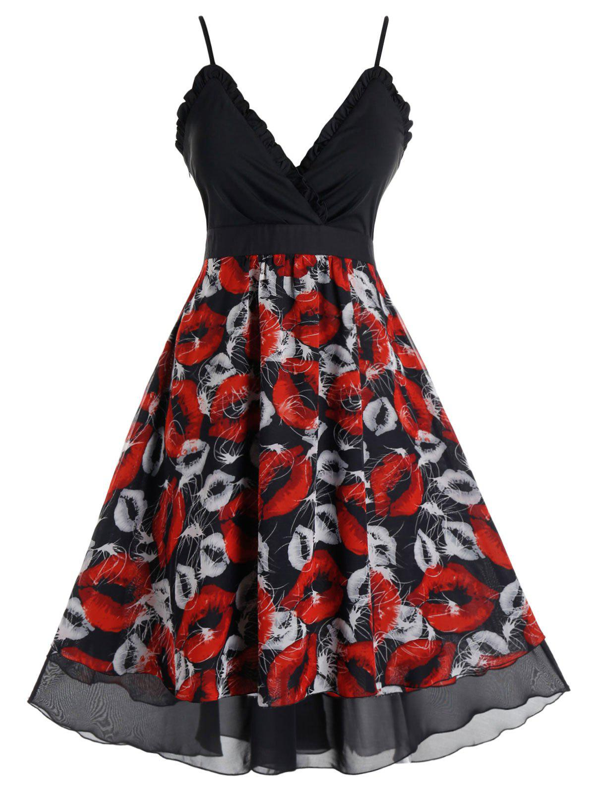 Store Plus Size Lips Print Ruffled Midi Dress