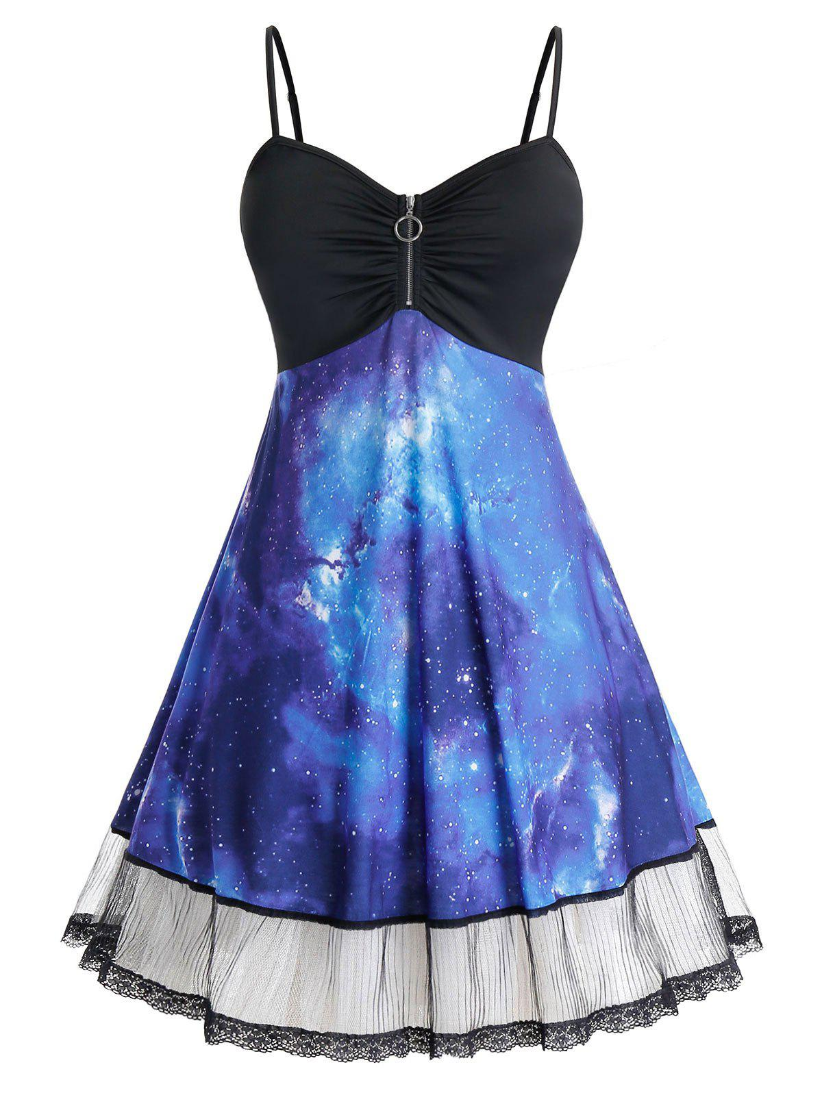 Hot Plus Size Galaxy Zip Backless Lace Panel Cami Dress