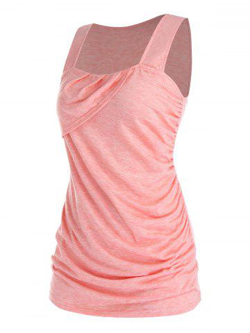 Plus Size Ruched Asymmetric Sleeveless T Shirt - FLAMINGO PINK - L