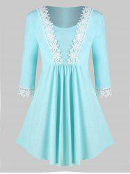 Plus Size Scoop Laced Trim Tunic Top -
