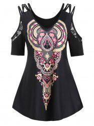 Tribal Print Cold Shoulder Lace Insert T-shirt -