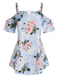 Plus Size Cold Shoulder Print Ring Tunic Top -