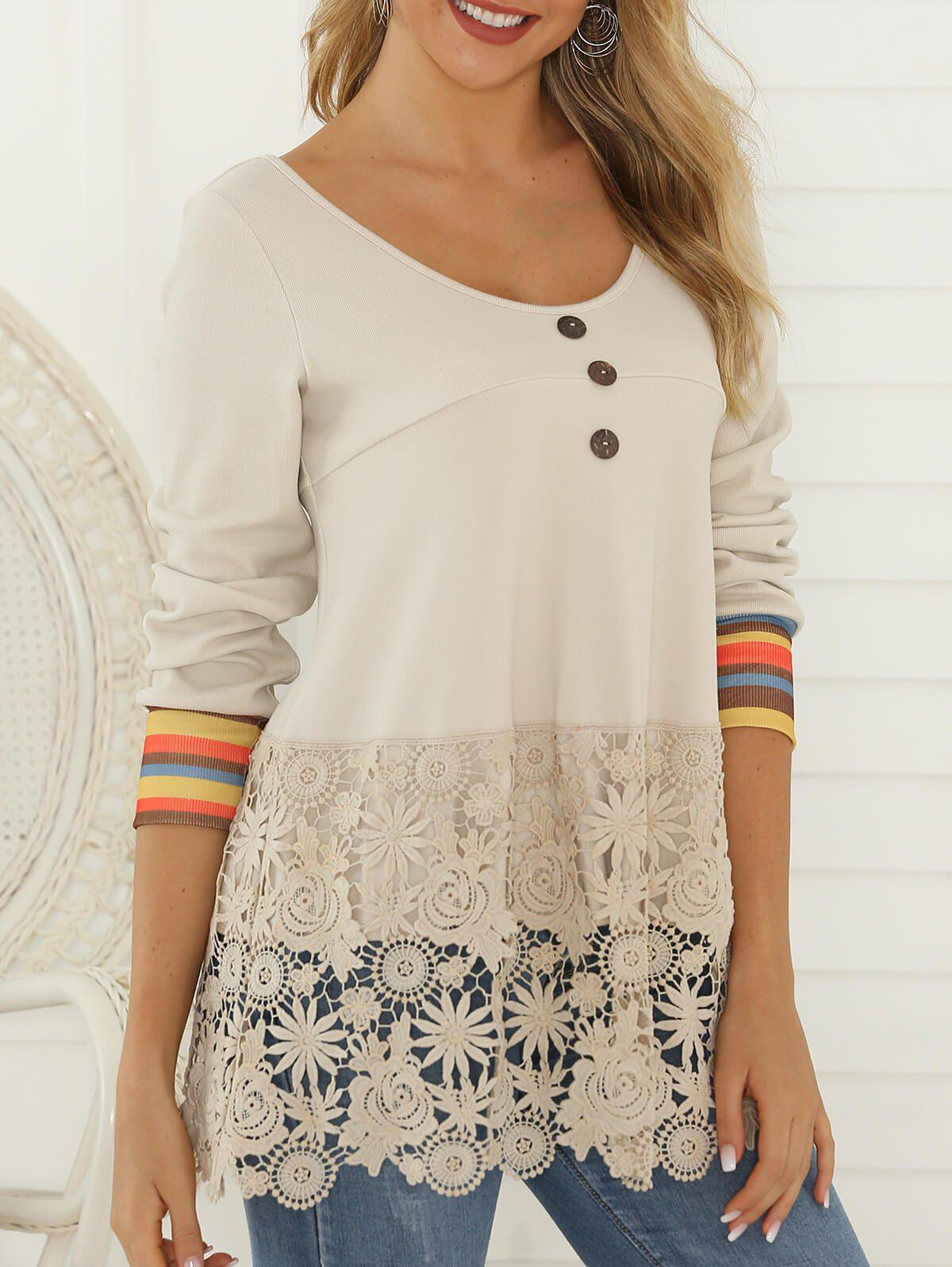 New Flower Lace Panel Mock Button Striped T-shirt