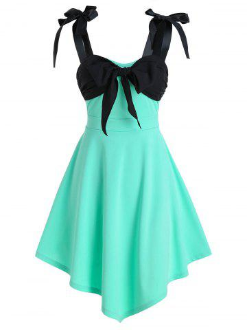 Bowknot Detail Pointed Hem Sleeveless Dress