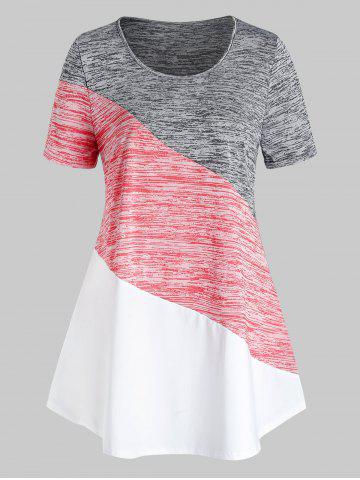 Plus Size Space Dye Colorblock T Shirt - SMOKEY GRAY - 4X