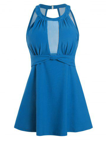 Ruched Front Solid Mesh Panel Plus Size Tankini Swimwear - BLUE - M