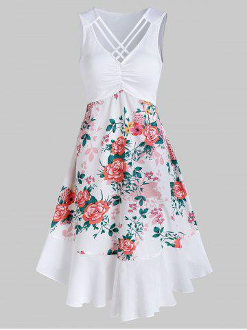 Flower Print Criss-cross Curved Hem Sleeveless Dress