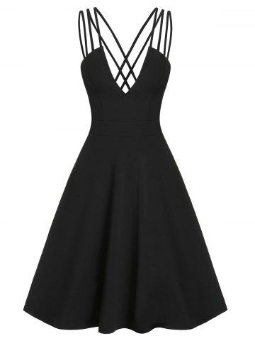 Fit And Flare Low Cut Criss Cross Straps Dress - BLACK - M