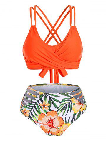 Twist Crisscross Floral Leaf Ladder Cutout Bikini Set - PUMPKIN ORANGE - S