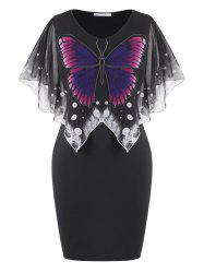 Overlay Chiffon Panel Butterfly Plus Size Dress -