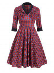 Plaid Ruched V Neck Empire Waist Dress -
