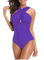 Cross-front Ruched One-piece Swimsuit -