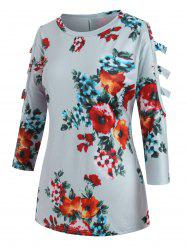 Cut Out Floral Three Quarter Sleeves Tee -