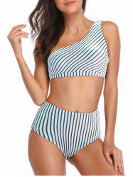 Striped One Shoulder High Waisted Bikini Set -