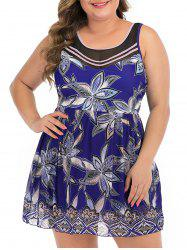 Tie Back Floral Mesh Panel Plus Size Skirted Swimsuit -
