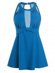 Ruched Front Solid Mesh Panel Plus Size Tankini Swimwear -