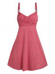 Rhinestone Buckle Sleeveless Heathered Crossover Dress -